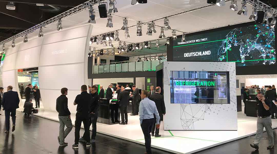 Messestand von Bitzer auf der Chillventa 2018, digitale Medieninstallation