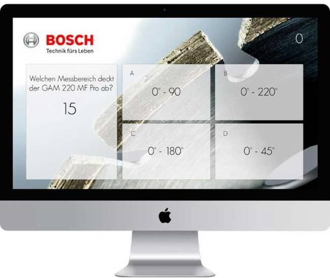 Eine Frage des Bosch touch Quiz auf einem Monitor dargestellt.