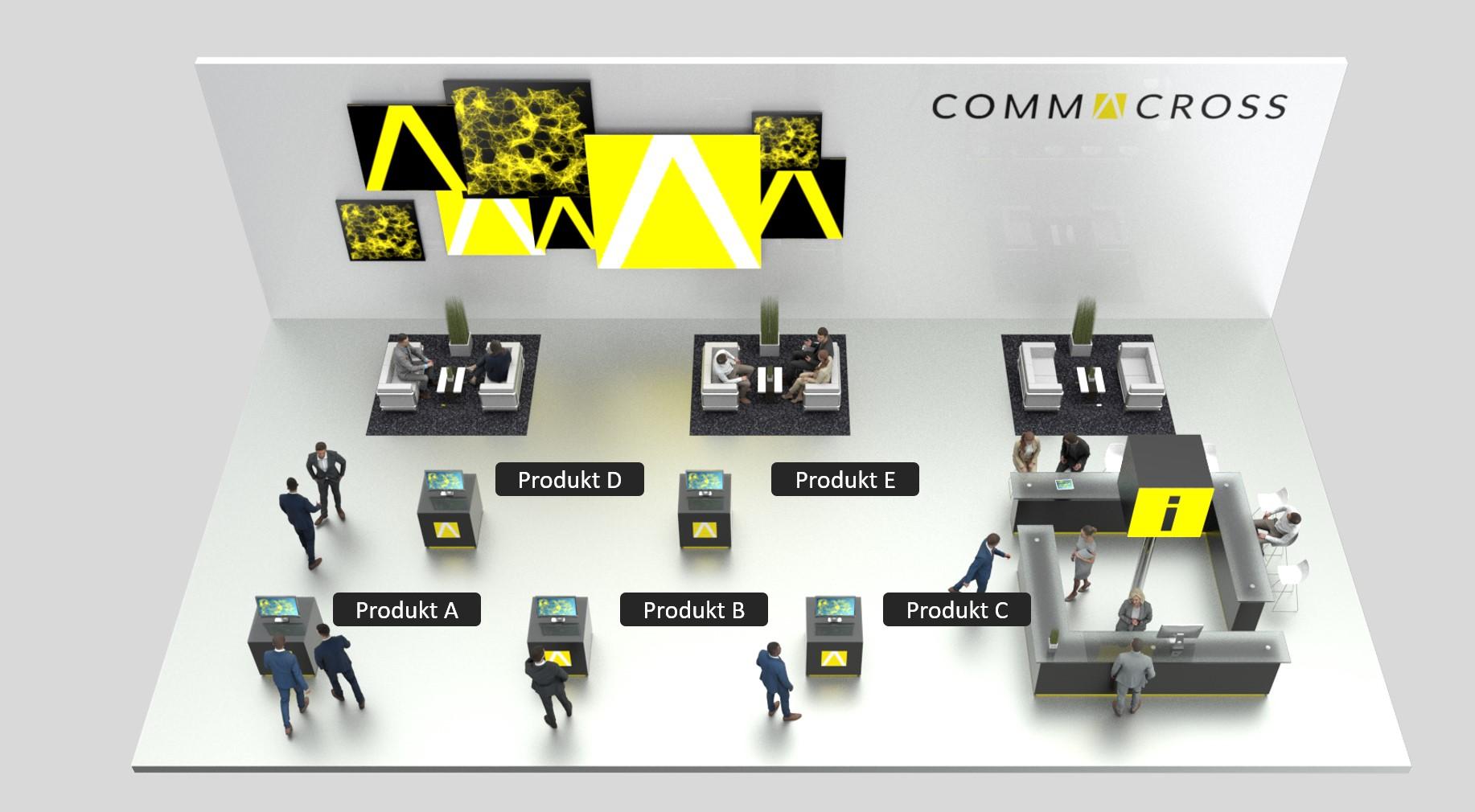 Virtueller Muster-Messestand von commacross mit Touchpoints