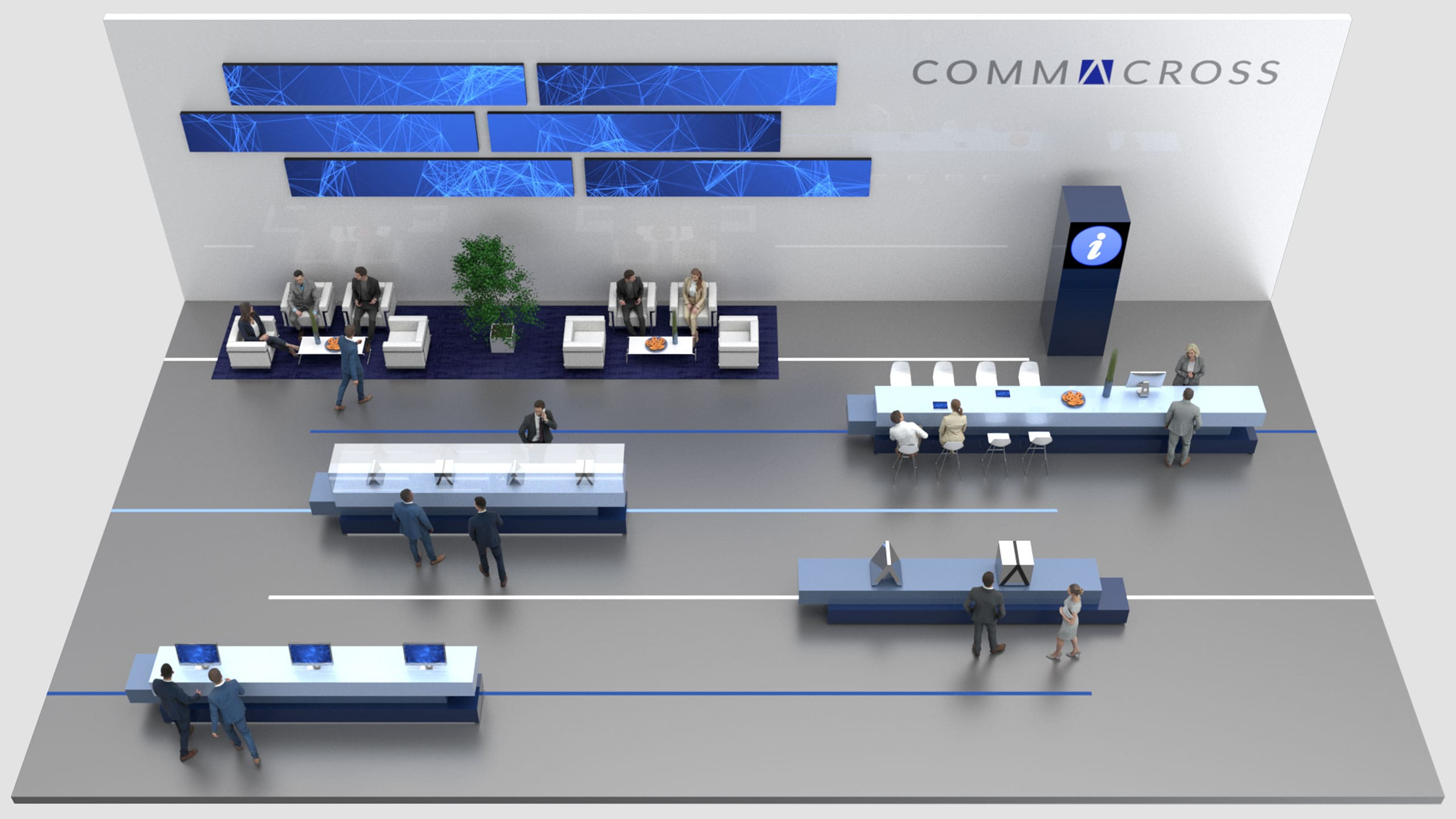 Virtueller, digitaler Messestand von commacross