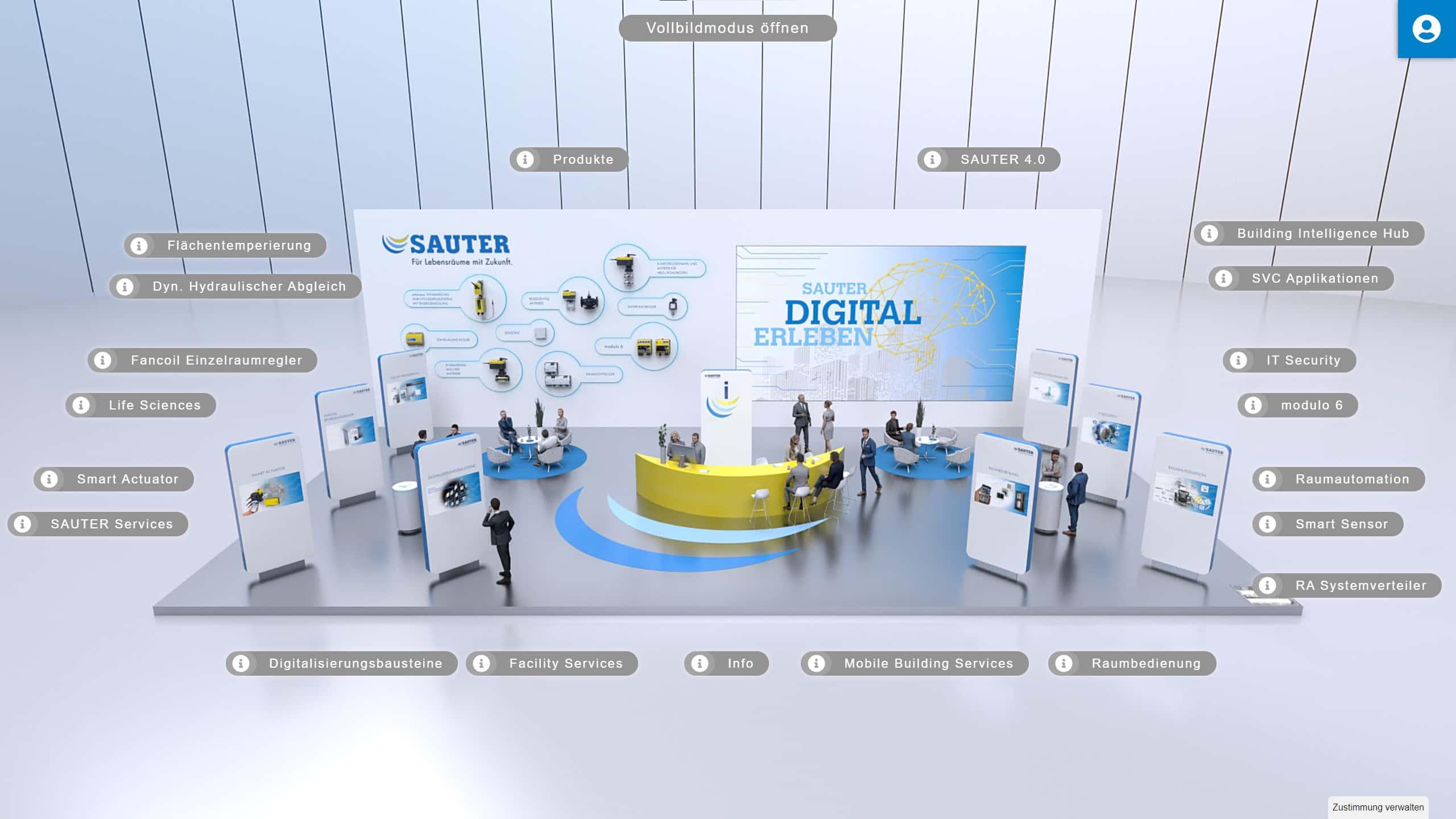 Virtueller Messestand der Firma Sauter, entwickelt und gestaltet von commacross.